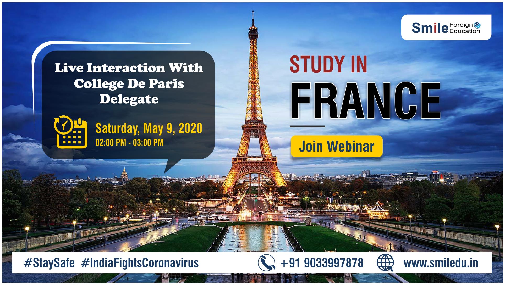 STUDY IN FRANCE – WEBINAR BY COLLEGE DE PARIS